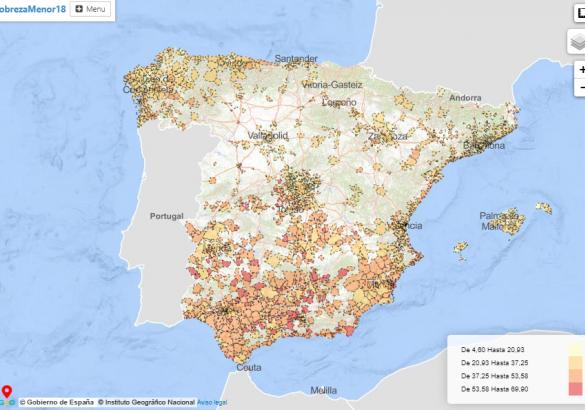 Mapa, pobreza infantil, municipios, españa, alto comisionado, pobreza